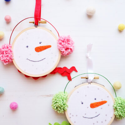 Chilly Snowman Embroidered Hoop Ornaments