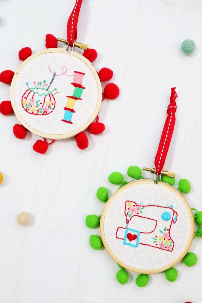 Sewing Room Christmas Hoop Ornaments