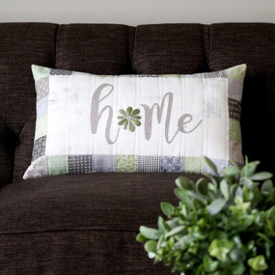 Home – Embroidered Pillow by A Bright Corner
