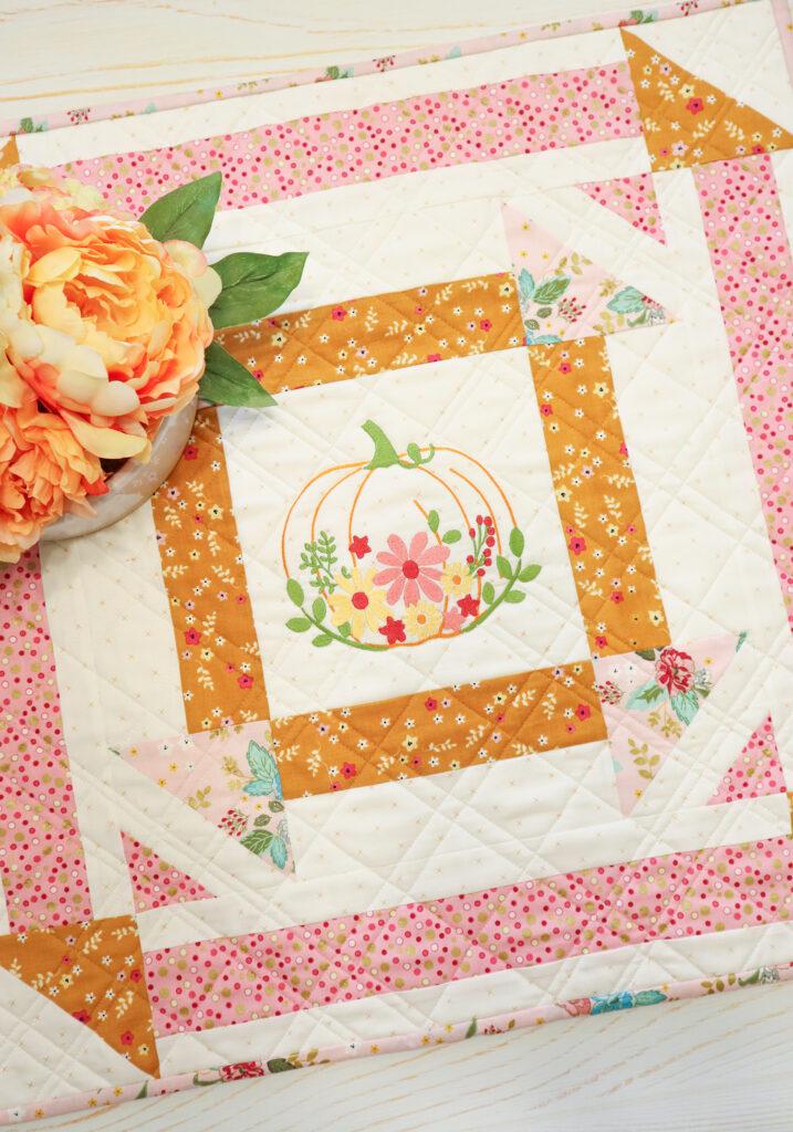 Floral Embroidered Pumpkin Mini Quilt