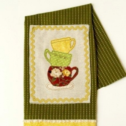 Stacked Teacups Dishtowel